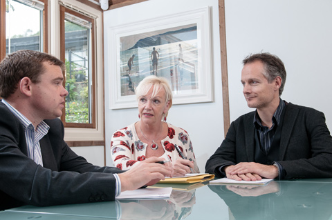 Chris Leach pictured with Martyn Bulman and Anthony Heather, discussing investment strategy